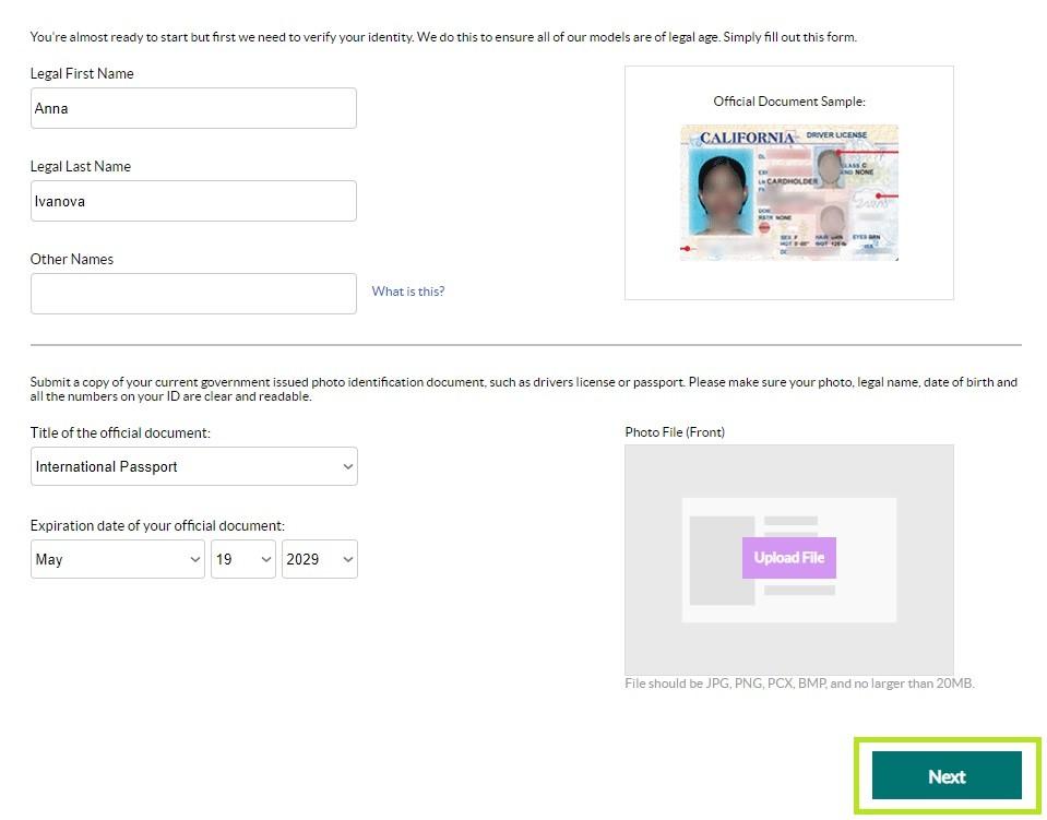 Cams.com регистрация моделью, верификация документов