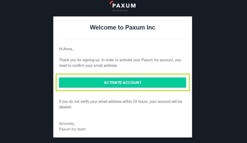 Активация Paxum