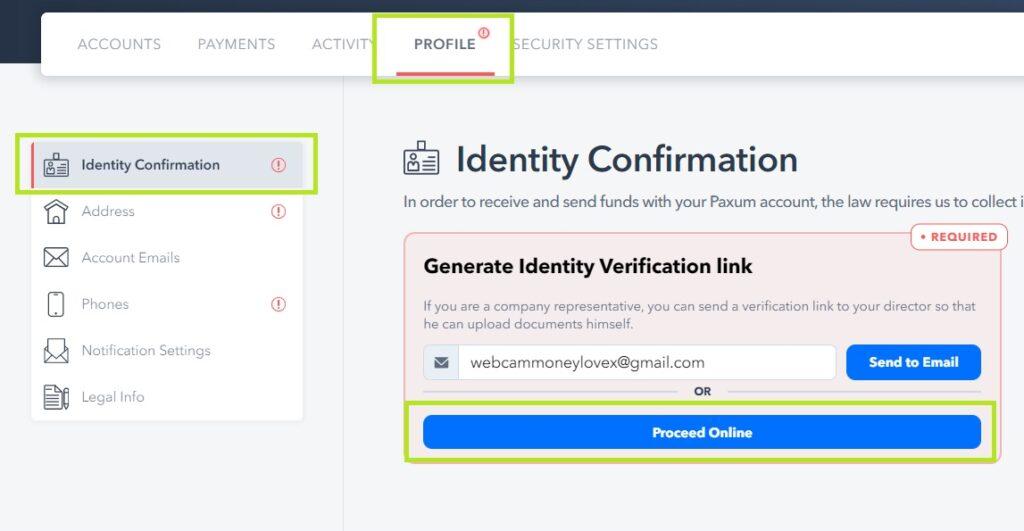 Paxum регистрация, верификация аккаунта